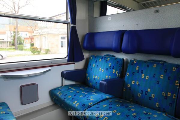 Train compartment, train to Rijeka